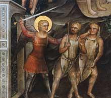 Giusto de'Menabuoi: Adam et Eve, détail). 1376-1378. Fresque. Padoue, baptistère