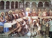 Giusto de'Menabuoi: Les noces de Cana. 1376-1378. Fresque. Padoue, baptistère