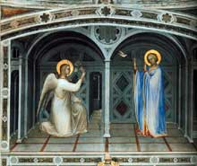 Giusto de'Menabuoi: l'Annonciation. 1375-1376. Fresque. Padoue, baptistère
