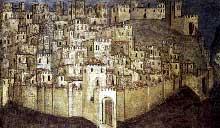 Giusto de'Menabuoi: la ville de Padoue. Détail de la fresque de la crucifixion de saint Philippe. Fresque. Padoue, basilique saint Antoine, chapelle saint Luc