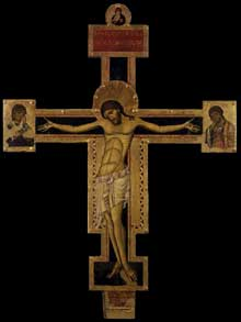 Giunta Pisano: Crucifixion. 1240s. Tempera sur bois. Assise Santa Maria degli Angeli. Cette oeuvre est une copie du dernier Cricifix peint pour le frère Elias pour l'église d'Assise