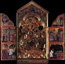 Grifo di Tancredi: Triptyque. Tempera sur panneau de bois, 119 x 125 cm. (volets ouverts). Edimbourg, National Gallery of Scotland