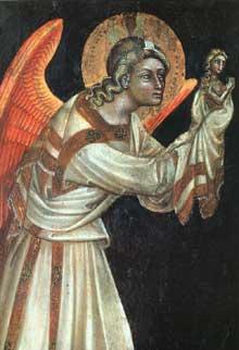 Guarentino d'Arpo: Ange. 1354. Tempera sur panneau de bois. Padoue, Museo Civico