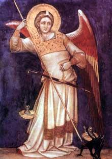 Guarentino d'Arpo: Archange. 1354. Tempera sur panneau de bois, 80 x 57 cm. Padoue, Museo Civico