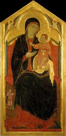 Guido di Graziano: Madone et enfant trônant. 1285-1295. Tempera et or sur panneau, 168 x 81 cm. Sienne Montaione, Eglise San Regolo