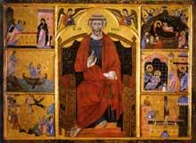 Guido di Graziano: Saint Pierre. Après 1280. Tempera et or sur panneau, 100,5 x 141 cm. Sienne, Pinacothèque Nationale