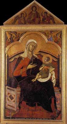 Guido di Sienna: «Maestà», vierge en gloire trônant avec le Christ enfant. 1270s. Tempera sur panneau de bois, 283 x 194 cm. Sienne, San Domenico