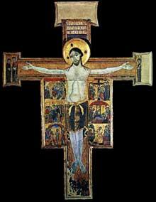 Crucifix avec l'histoire de la Passion. Autour de 1200. Tempera sur bois, 277 x 231 cm. Florence, les Offices