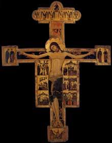 Crucifix (Croix N°20). Vers 1230. Parchemin sur panneau de bois, 297 x 234 cm. Pise, Pinacothèque