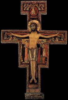 Crucifix de Saint Damien. Début du XIIIè. Tempera sur bois. Assise, église sainte Claire. Selon la tradition ce crucifix au «Christus triumphans» aurait parlé à saint François dans l'église de San Damiano