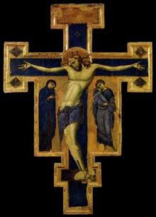 Crucifix. Autour de 1250. Tempera sur bois. Assise, couvent saint François. Le maître inconnu de ce «Christus patiens» est désigné comme le «Maître du Crucifix Bleu»