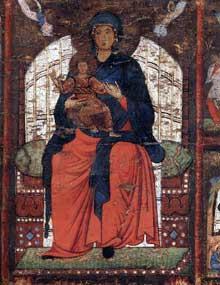 Vierge à l'enfant trônant et scènes de la vie de la Vierge, détail. 1270-1275. Tempera sur bois, 79,2 x 120 cm. Anvers, Museum Mayer van den Bergh
