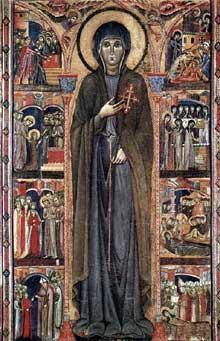 Retable de sainte Claire. 1280s. Tempera sur panneau de bois, 273 x 165 cm. Assise, monastère sainte Claire