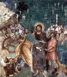 Maître de l'arrestation: L'arrestation du Christ. 1290s. Fresque. Assise, église supérieure Saint François d'Assise