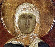Histoire de sainte Marguerite de Cortone, détail. Vers 1298. Panneau de bois, 178 x 128 cm. Cortone; Museo Diocesano