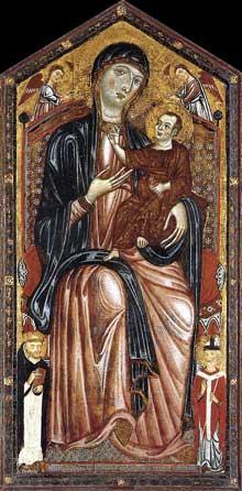 Vierge à l'enfant trônant avec saint Dominique, saint Martin et deux Anges. Vers 1290. Tempera sur panneau de bois, 117 x 87 cm. Madrid, Museo Thyssen-Bornemisza