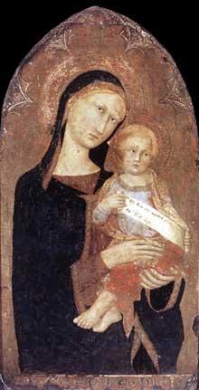 Vierge à l'enfant. 1330s. Tempera sur panneau de bois, 73 x 41,5 cm. Rome, Galleria Nazionale d'Arte Antica