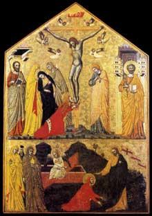 Crucifixion avec saints et «Noli Me Tangere». Vers 1350. Tempera et or sur bois, 56 x 38 cm. Vatican, Pinacothèque