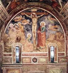 Crucifixion. 1370. Fragment de fresque détachée, 378 x 277 cm. Milan, Pinacothèque de la Brera