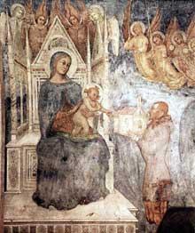 Vierge et donateur. Vers 1370. Fragment de fresque détachée, 323 x 217 cm. Milan, Pinacothèque de la Brera