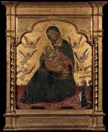 Vierge d'humilité avec anges et donateur. Vers 1360. Tempera sur panneau de bois, 69 x 57 cm. Madrid, Museo Thyssen-Bornemisza