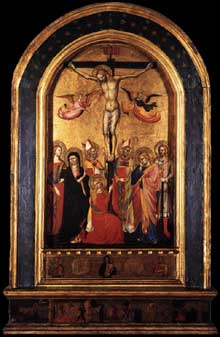Crucifixion avec vierge et saints. 1380-1390s.Tempera sur panneau de bois, 88 x 50 cm.Collection privée
