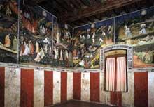 Fresque des 12 lunes, détail: les mois d'avril, mai, juin et juillet. 1391-1407. Fresque. Trente, Castello del Buonconsiglio