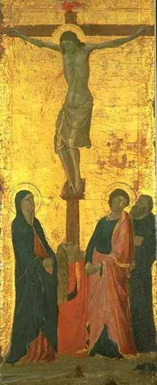 Jacopo del Casentino : Crucifixion. 1340-1345. Tempera sur bois. Oberlin, Ohio, Allen Memorial Art Museum