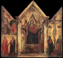 Jacopo del Casentino : Madone en majesté avec anges et saints. Enthroned with Angels and Saints. 1320-1330. Tempera sur bois, 39 x 42 cm. Florence, les Offices