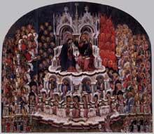 Jacobello del Fiore: couronnement de la vierge. 1438. Panneau de bois, 283 x 303 cm. Venise, Galleria dell'Accademia