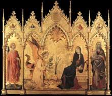 Lippo Memmi: L'annonciation et deux saints. 1333. Tempera sur bois, 184 x 210 cm. Florence, les Offices
