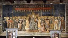 Lippo Memmi: Maestà. 1317-1318. Fresque. San Gimignano, Palazzo Pubblico