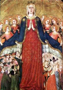 Lippo Memmi: Madone. 1350s. Fresque. Orvieto, Dôme, Chapelle du Corporal