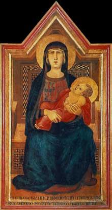 Ambrogio Lorenzetti: Madone de Vico l'Abate. 1319. Tempera sur bois, 148,5 x 78 cm. Florence, San Casciano in Val di Pesa, Museo di Arte Sacra