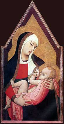 Ambrogio Lorenzetti: Madone allaitant. Vers 1330. Tempera sur bois, 90 x 48 cm.Sienne, Palazzo Arcivescovile