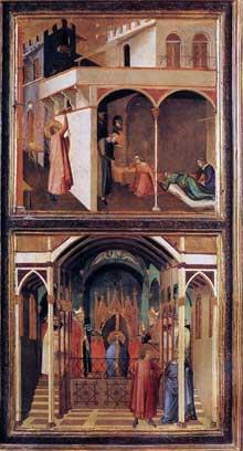 Ambrogio Lorenzetti: Scènes de la vie de Saint Nicolas. Vers 1332. Tempera sur bois, 92 x 49 cm. Florence, les Offices