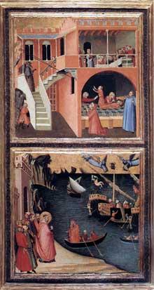 Ambrogio Lorenzetti: Scènes de la vie de Saint Nicolas. Vers 1332. Tempera sur bois, 92 x 52,4 cm. Florence, les Offices