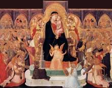 Ambrogio Lorenzetti: Madone avec anges et saints (Maestà). Vers 1335. Tempera sur bois, 155 x 206 cm. Massa Marittima, Municipio