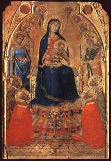 Ambrogio Lorenzetti: Petite Maestà. 1335-1340. Tempera sur bois, 49 x 32,5 cm. Sienne, Pinacothèque. Nazionale
