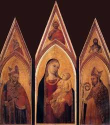Ambrogio Lorenzetti: Retable de Saint Proculus. 1332. Tempera sur bois, 167 x 56 cm. (Panneau central), 145 x 43 cm. (Panneau latéral). Florence, les Offices