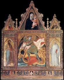 Ambrogio Lorenzetti: Saint Michel. 1330-1335. Tempera sur bois, 110,5 x 94,5 cm. Asciano, Museo d'Arte Sacra