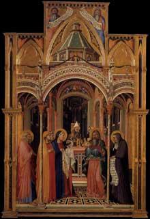 Ambrogio Lorenzetti: La Présentation au Temple. 1342. Panneau de bois, 257 x 168 cm. Florence, les Offices
