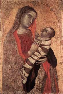 Ambrogio Lorenzetti: Madone et enfant. 1340-1345. Tempera sur panneau de bois, 85 x 57 cm. Milan, Pinacothèque de la Brera