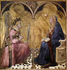 Ambrogio Lorenzetti: Annonciation. 1344. Tempera sur bois, 127 x 120 cm. Sienne, Pinacothèque Nationale