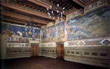 Ambrogio Lorenzetti: Les effets du bon et du mauvais gouvernement: vue générale des fresques. 1338-1340.Sienne, Palais Public, salle du conseil des Neufs
