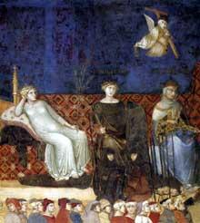 Ambrogio Lorenzetti: Les effets du bon gouvernement, détail. 1338-1340.Fresque. Sienne, Palais Public