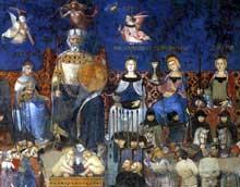 Ambrogio Lorenzetti: Les effets du bon gouvernement, détail. 1338-1340. Fresque. Sienne, Palais Public