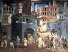 Ambrogio Lorenzetti: Les effets du bon gouvernement sur la vie de la cité (détail). 1338-1340.Fresque. Sienne, Palais Public