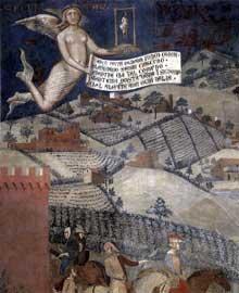 Ambrogio Lorenzetti: Les effets du bon gouvernement sur la vie de la région (détail). 1338-1340.Fresque. Sienne, Palais Public