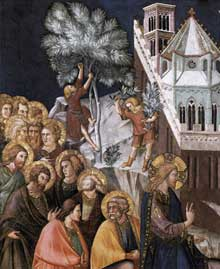 Pietro Lorenzetti: Entrée du Christ à Jerusalem, détail. Vers 1320. Fresque. Assise, église inférieure saint François, transept sud